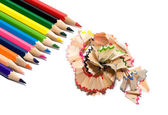 Colored pencils with the chips — Stock Photo