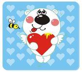 Bear with Heart Shape — Stock Vector