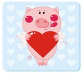 Piggy with Heart Shape — Stock Vector