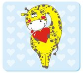 Giraffe with Heart Shape — Stock Vector