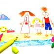 Child's Drawing of happy family — Stockfoto