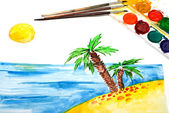 Child's Painting of tropical coast — Stock Photo