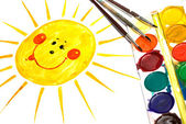 Child's Painting of smiling sun — Stock Photo