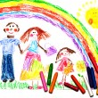 Child's Drawing of happy family - Stock Photo