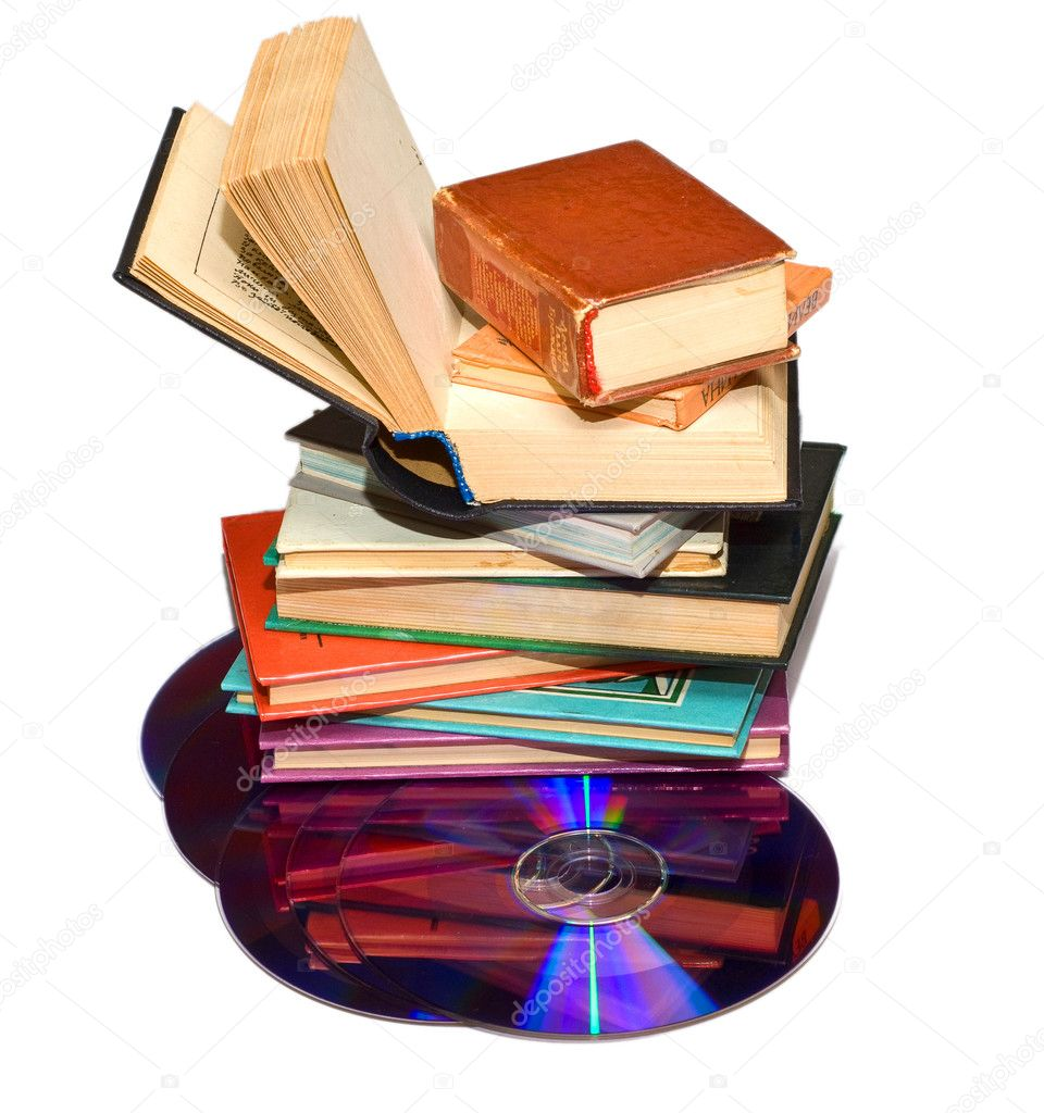 Books and CD on a white background — Stock Photo ...
