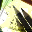 Measurement tool with pencil closeup — Stock Photo