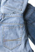 Blue jeans on white close up — Stock Photo