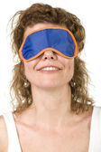 Girl on mask for sleep closeup — Stock Photo