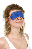 Girl on mask for sleep on white — Stock Photo