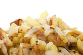 Fried cutting potatoes on white — Stock Photo