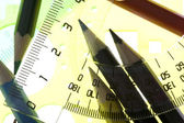 Measurement tool with pencil closeup — 图库照片