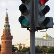 Tower Moscow Kremlin and traffic lights — Stock Photo