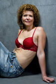 Portrait woman in brassiere closeup — Stock Photo