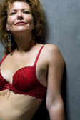 Portrait woman in brassiere close up — Stock Photo