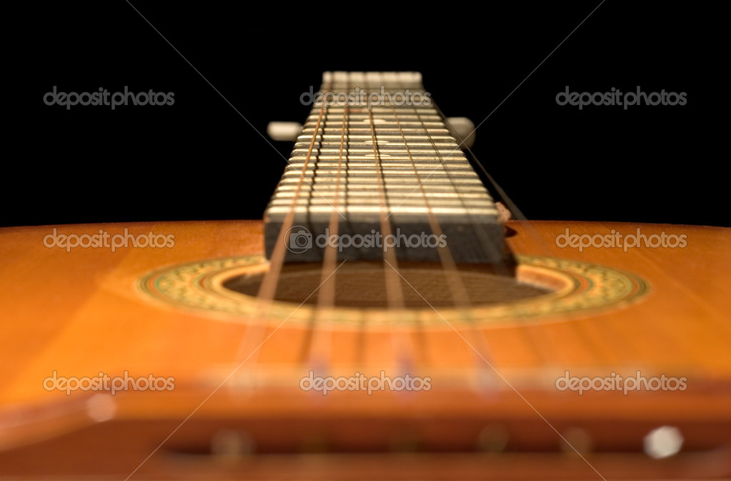 Series object on black: isolated - After concert - guitar — Stock Photo #1738717