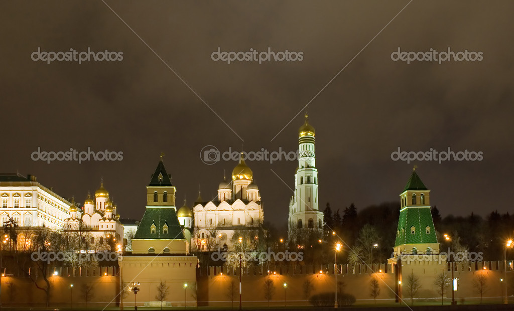 Russia, city Moscow, night  Kremlin wall and tower and  cathedral  Stock Photo #1777376