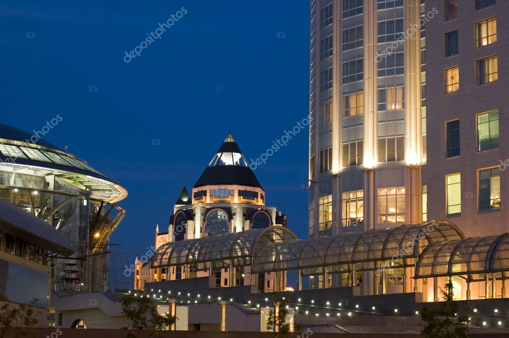 Russia. night Moscow close up elevation of building — Stock Photo #1777777