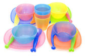 Color Set of plastic ware — Stock Photo