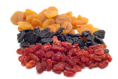 Dried fruits on white — Stock Photo