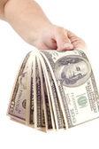 Hand and dollar closeup — Stock Photo
