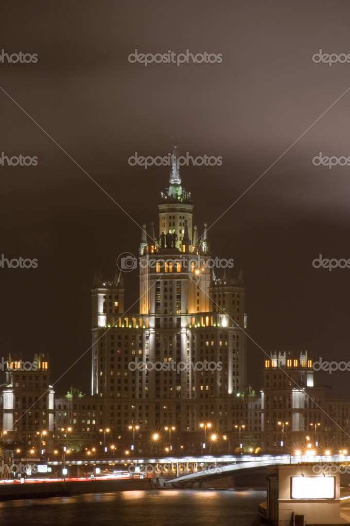 Russian Moscow old high-rise building — Stock Photo #1808604