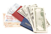 Passport with money — Stockfoto