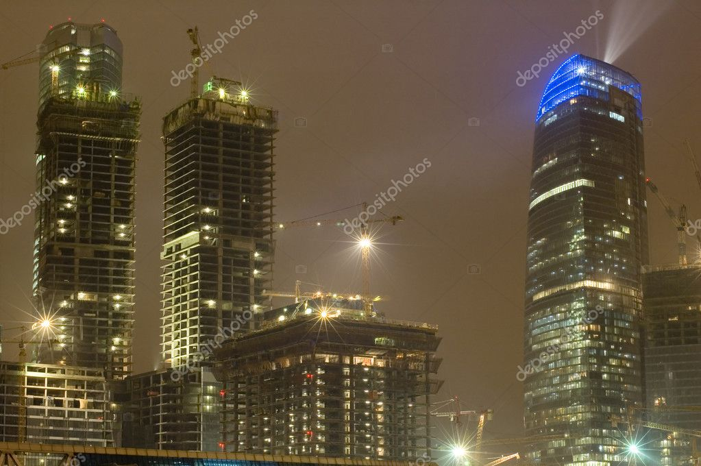 Russia. night Moscow new building project-skyscraper — Stock Photo #1812893