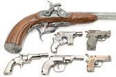Set of pistols lighter on white — Stock Photo