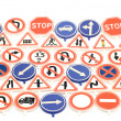 Toy road sign background — Stock Photo
