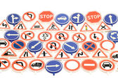 Toy road sign background — Stockfoto