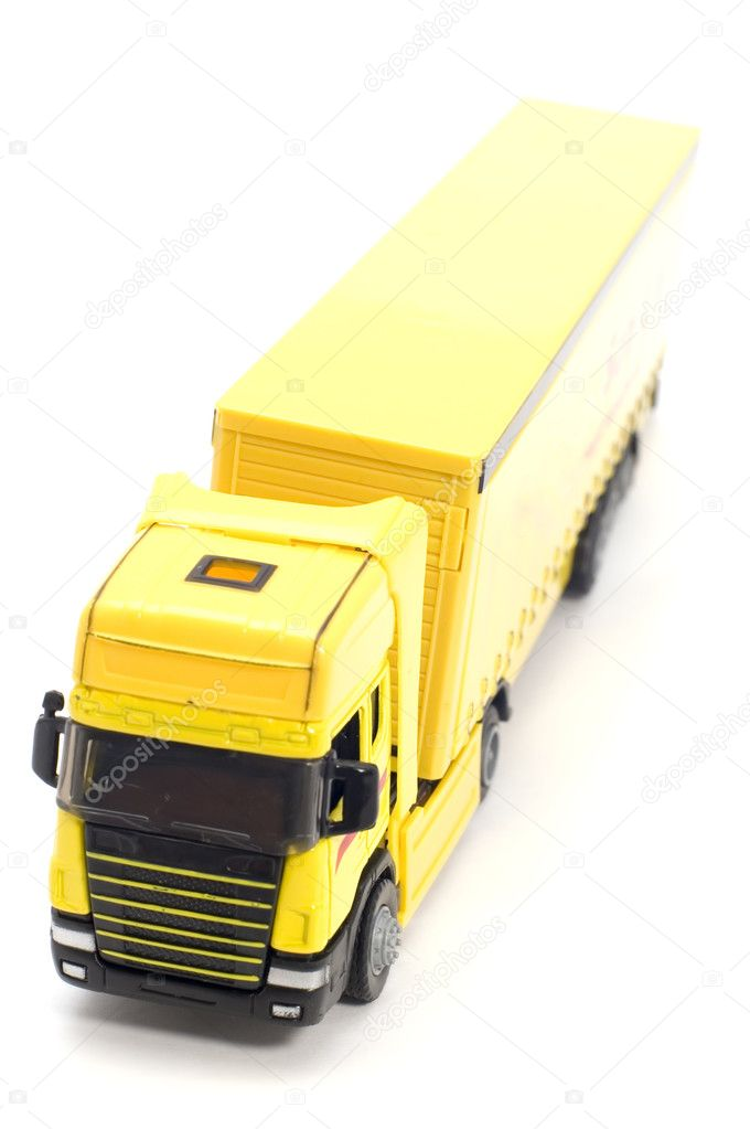 Object on white toy yellow truck  Stock Photo #1836309