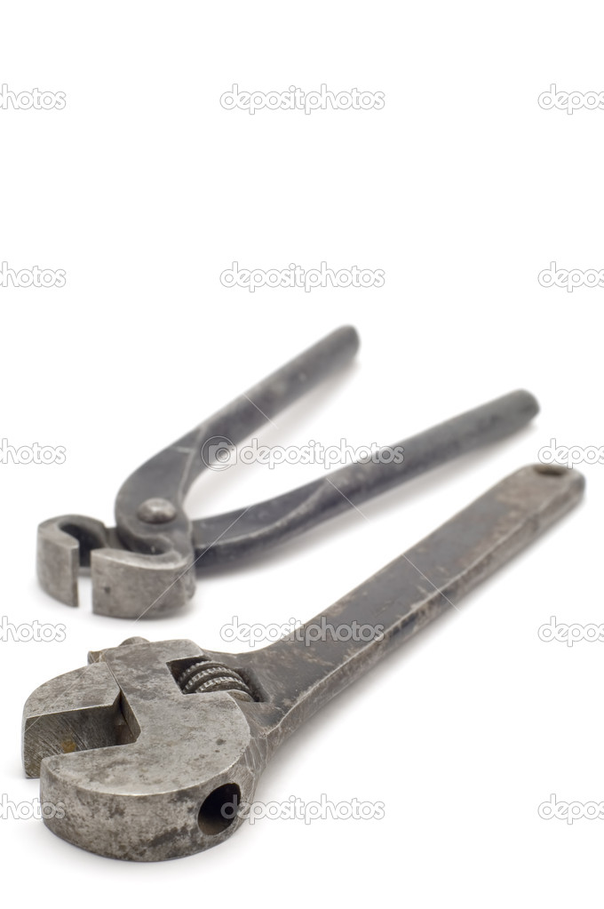 Object on white - tool monkey wrench with pliers  Stock Photo #1837986