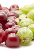 Cherries with gooseberry closeup — Stock Photo