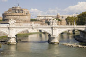 Bridge and Castle Sant Angelo in Rome — Stock Photo