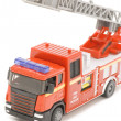 Fire engine closeup on white — Stock Photo