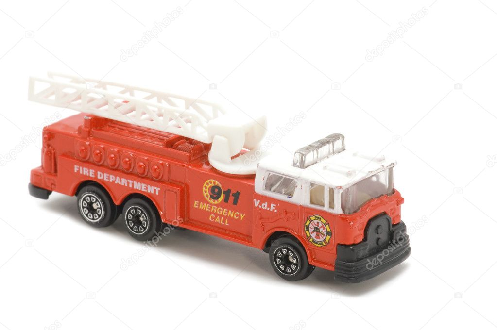 Object on white - toy fire fighting vehicle — Stock Photo #1863309