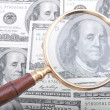 Magnifier glass with money - Stock Photo