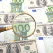 Magnifier with money — Stock Photo