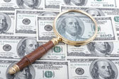 Magnifier with dollar — Stock Photo