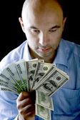 Portrait man with money — Stock Photo
