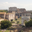 Stock Photo: Roman forum with coliseum
