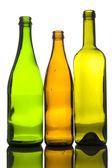 Three empty bottle macro — Stock Photo