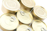 Tin with canned food closeup — Stock Photo