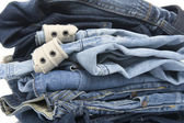 Jeans on white closeup — Stock Photo
