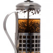 Stock Photo: Press coffee maker with teon white