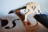 The sounding board of the contrabass close-up — Stock Photo