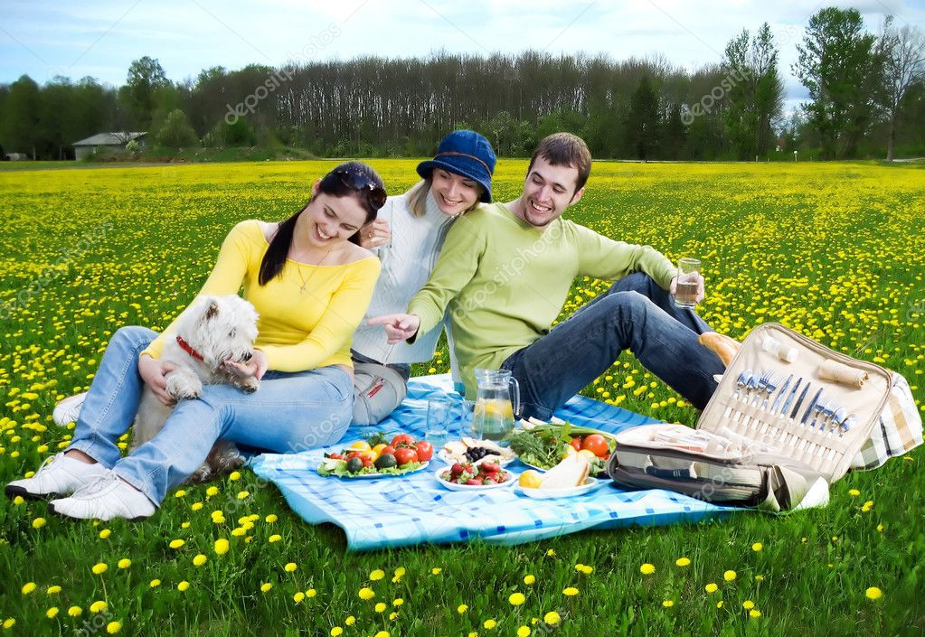 Three friends with little white dog at picnic  Stock Photo #1669367