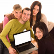 Group of students with laptop on white — Foto Stock