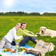Couple at picnic with golden retriever - Stock Photo
