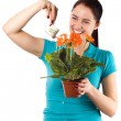 Stock Photo: Smiling woman watering her flowers